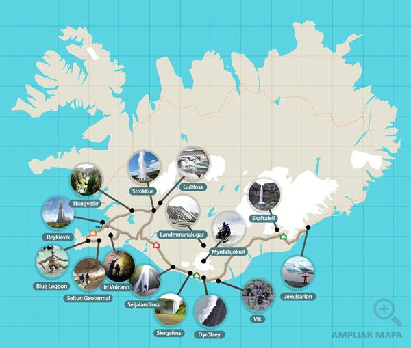 Ruta de una 7 días por el sur de Islandia