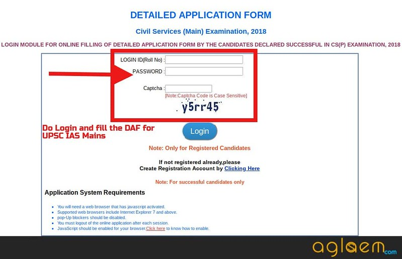 UPSC Civil Services (IAS) 2018 Application Form for Mains   Fill DAF Here!
