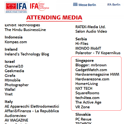 The media delegation from Singapore is part of an international corp invited by Messe Berlin, the organisers of IFA and this Global Press Conference.