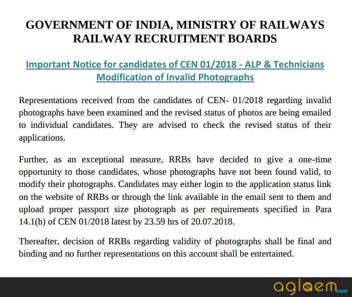 RRB ALP Application Status 2018 / RRB ALP Rejected Form List
