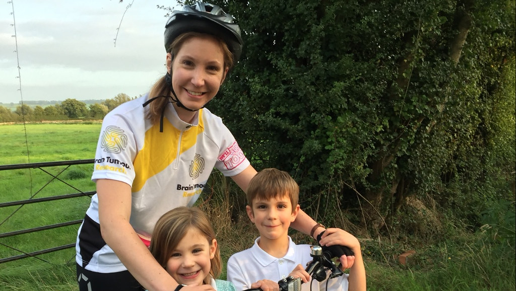 Sophie Oldacres with children Esther and Joseph gearing up for the Ride4Simon event.