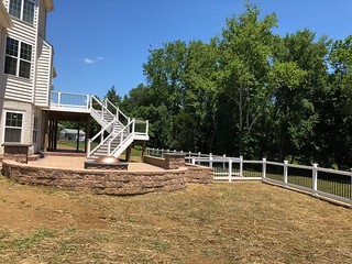 Retaining wall Railing patio deck with steps in bowie md | by LongCreekConstruction