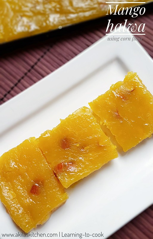 Mango halwa using corn flour
