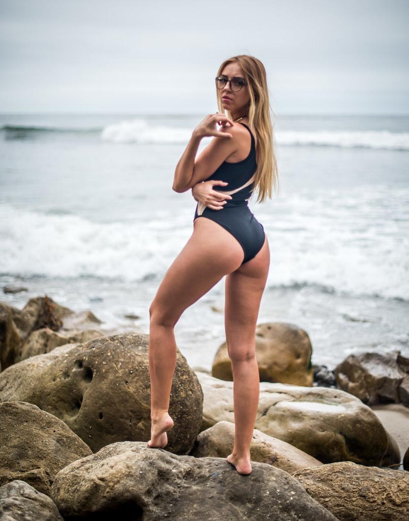 Bikini blonde hair long model