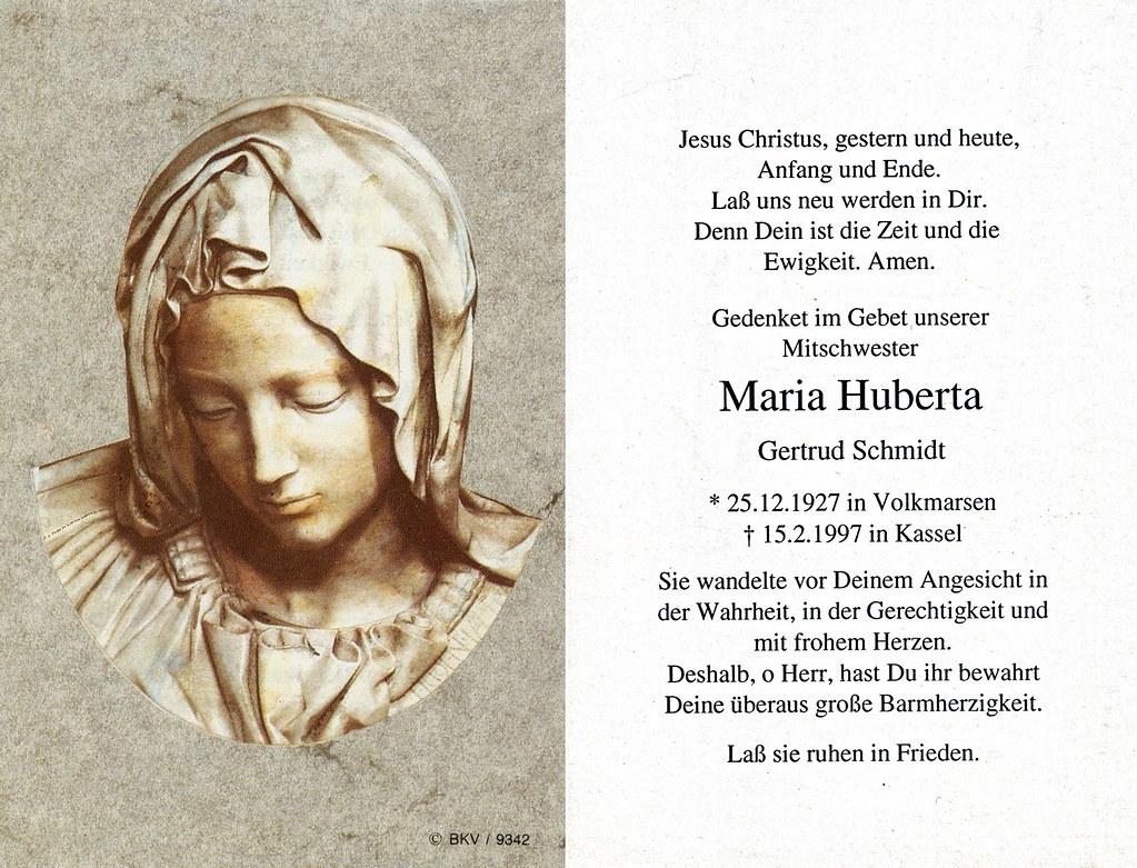 Totenzettel Schwester Maria Huberta † 15.02.1997