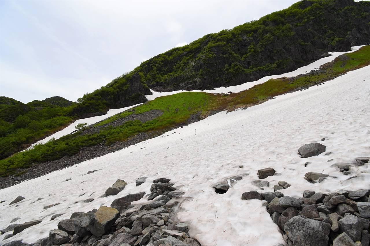 北アルプス・天狗原へ 雪渓登山