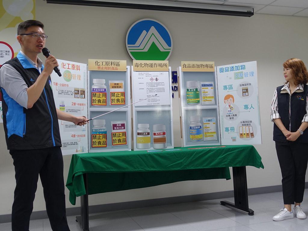 化學局示範,同時也有販售食品添加物的化工行需做到「四要管理」。