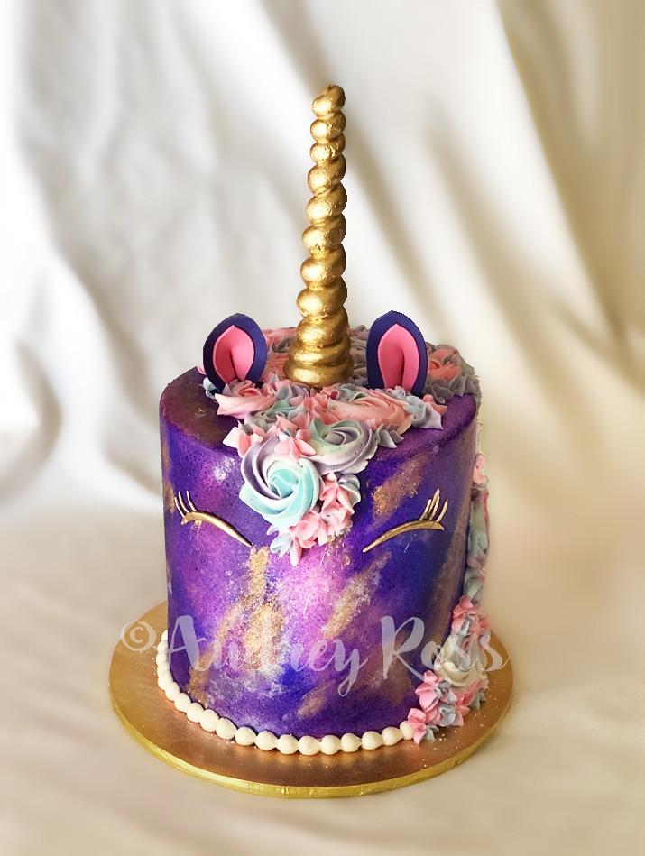 Purple Unicorn Birthday Cake