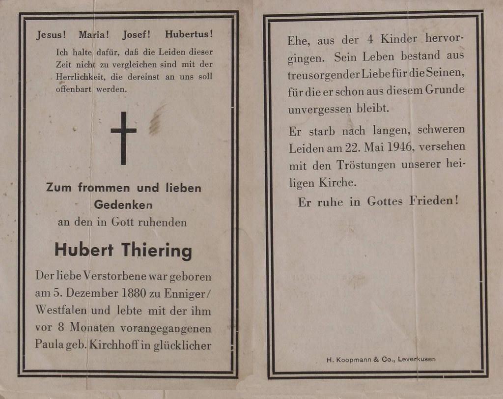 Totenzettel Thierung, Hubert † 22.05.1946