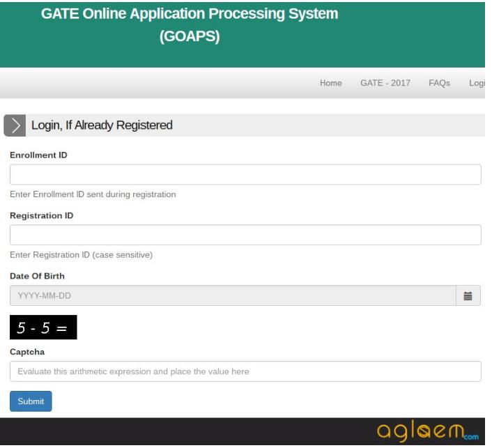 GATE 2019 login