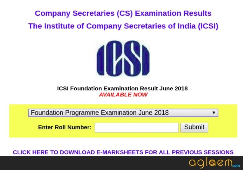 CS Foundation 2018 Result