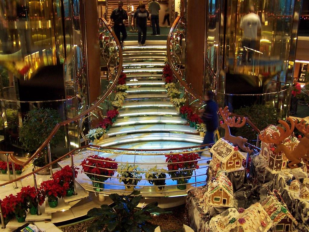 atrium of legend of the seas with christmas decorations by rv bob