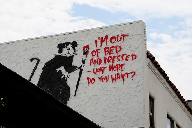 Banksy I M Out Of Bed Dog Byte Flickr