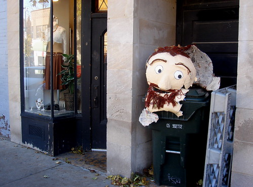Street scene with smashed head | by Ann Althouse