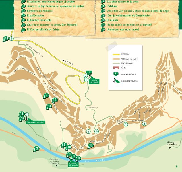 Mapa de Aýna con las localizaciones de Amanece que no es poco