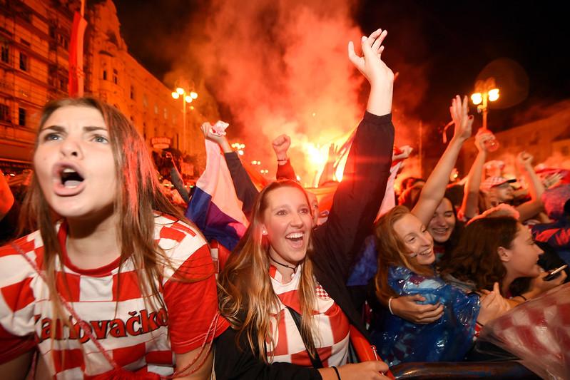 克羅埃西亞國民歡慶球隊歷史性的勝利。(AFP授權)