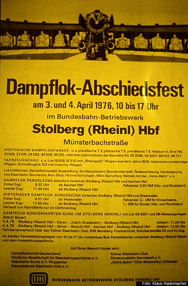 Dampflok Abschiedsfest Bw Stolberg, Veranstaltungsplakat