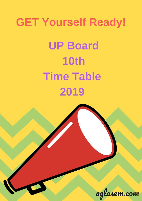 UP Board 10th Time Table 2019