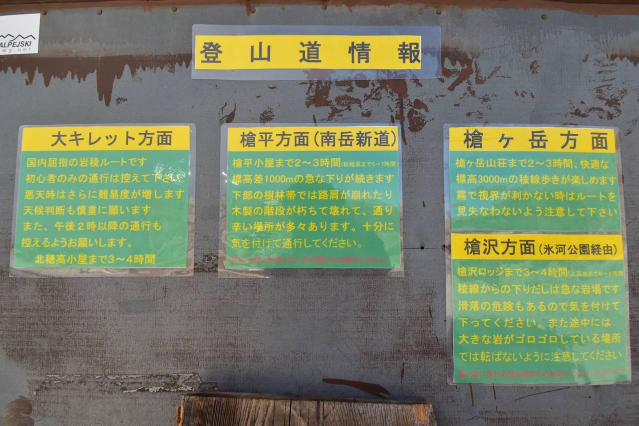 南岳小屋の登山道情報