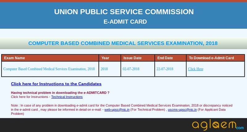 UPSC CMS 2018 Admit Card for Interview- Download Here CMS Admit Card 2018