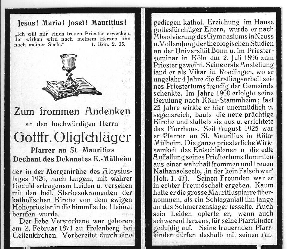 Totenzettel Oligschläger, Gottfried Dechant † 21.06.1926