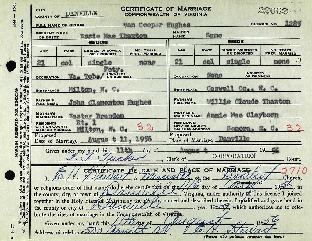 Essie Mae Thaxtonvan Cooper Hughes Va Marriage Certificat Flickr