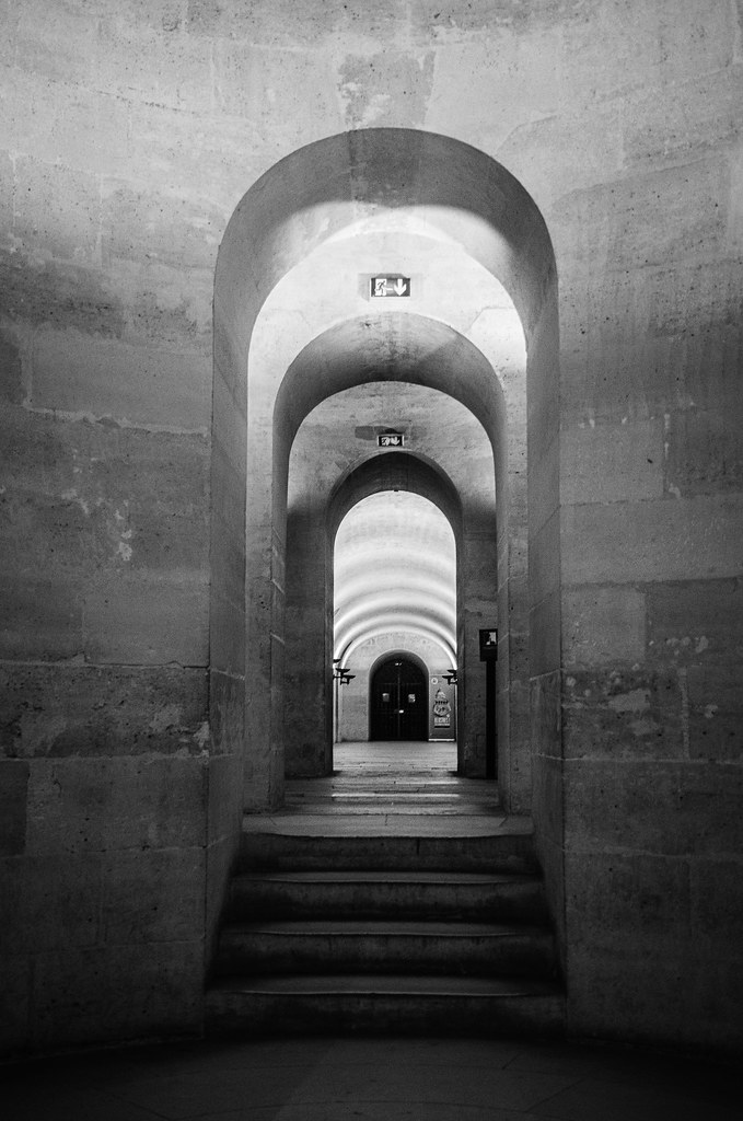 fine art black & white view of the wonderful crypt of the magnificent Panthéon, a gem of the Latin Quarter, Paris, France