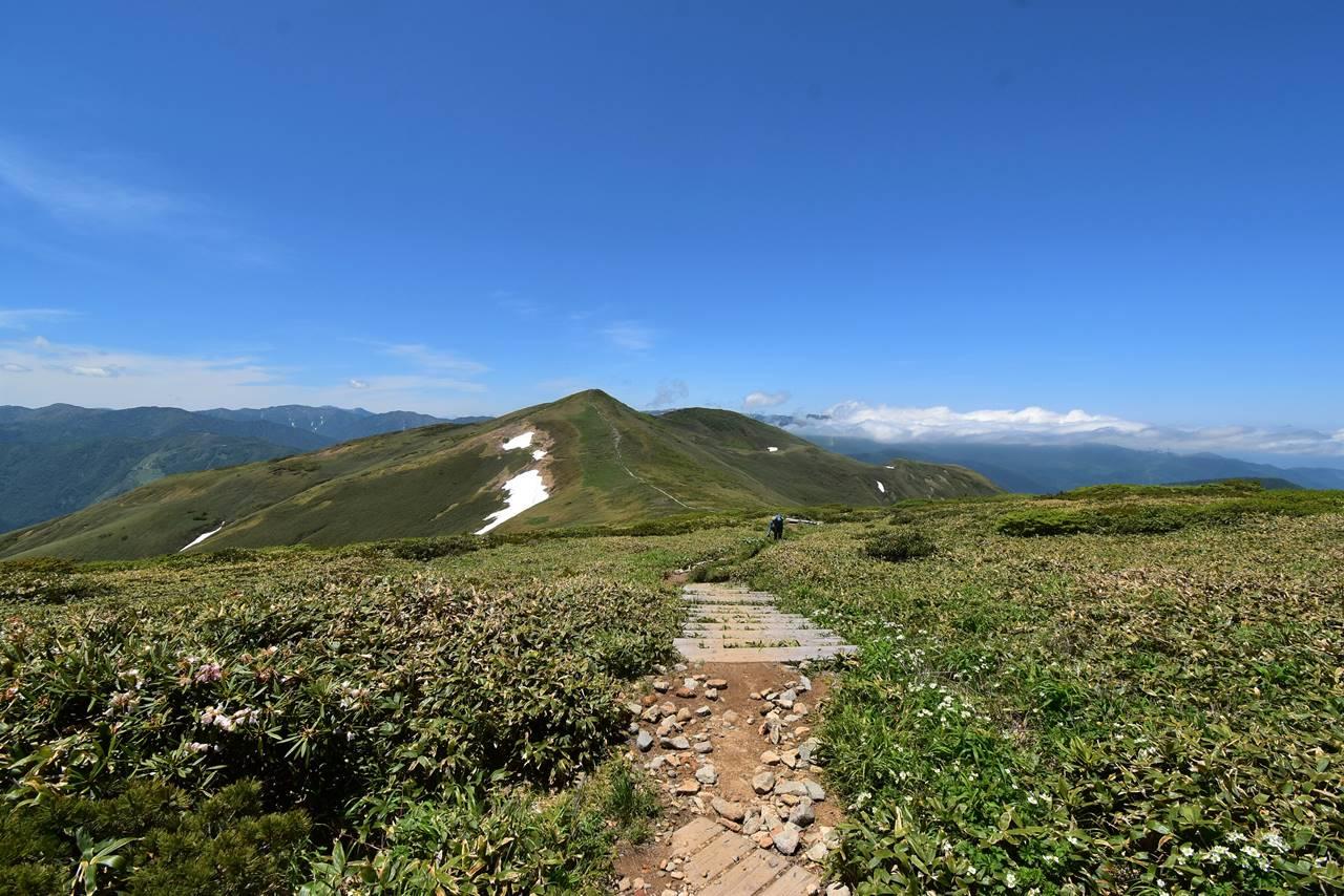 稜線から眺める平標山