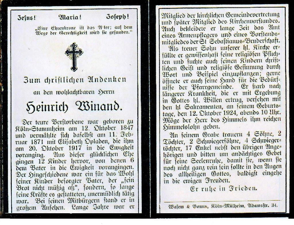Totenzettel Winand, Plückvogel Heinrich † 12.10.1924