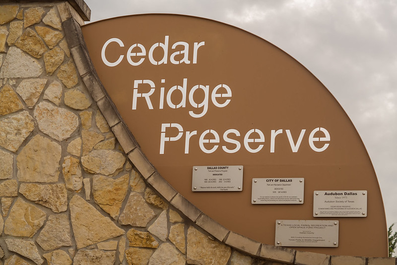 Cedar Ridge Nature Preserve sign