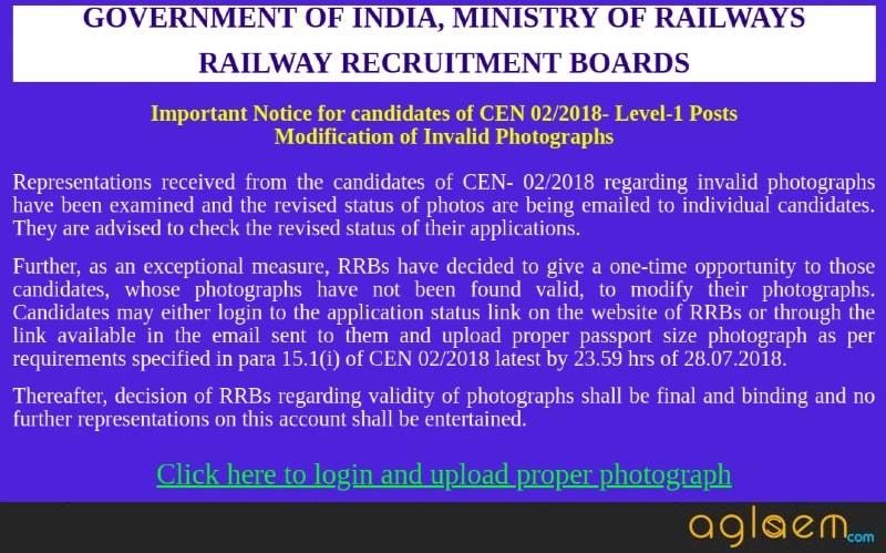 RRB Group D 2018 Photo Modification Started; Exam Date Out on 29 July?