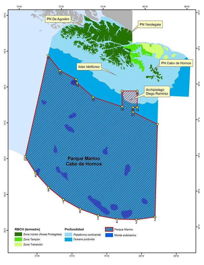保護海藻森林棲地的合恩角海洋公園目前範圍。圖片來源:atlas of Marine Protection