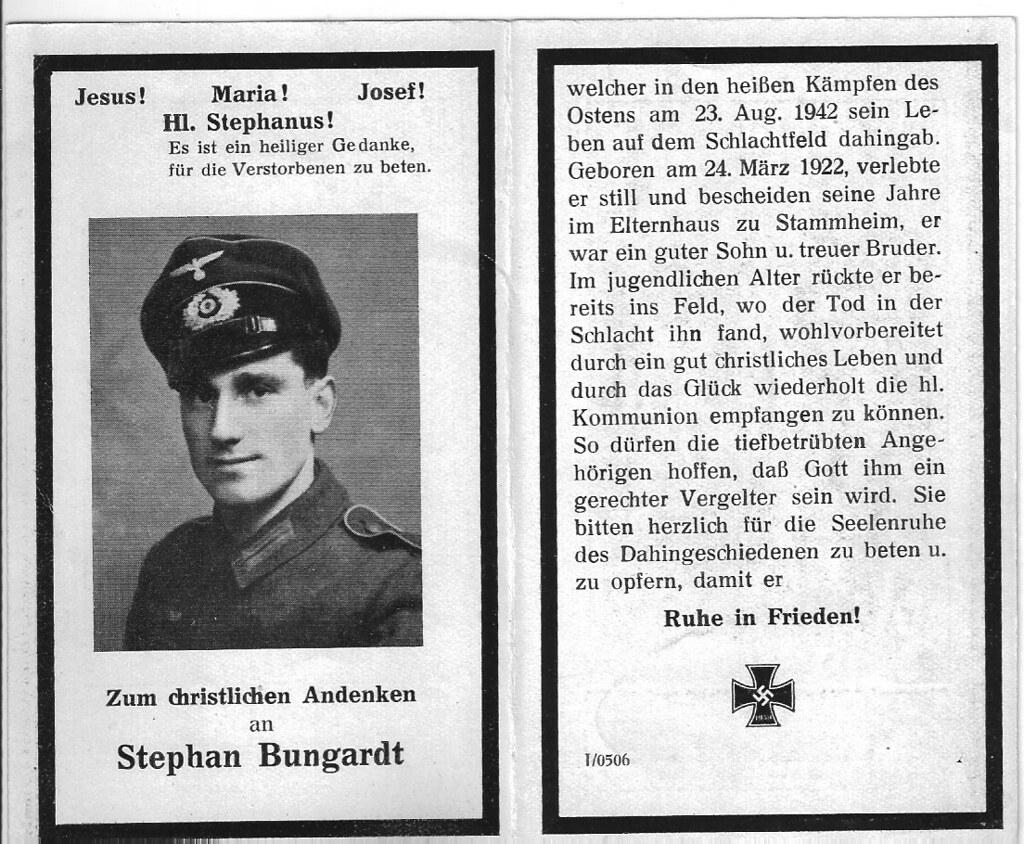 Totenzettel Bungardt, Stephan † 23.08.1942