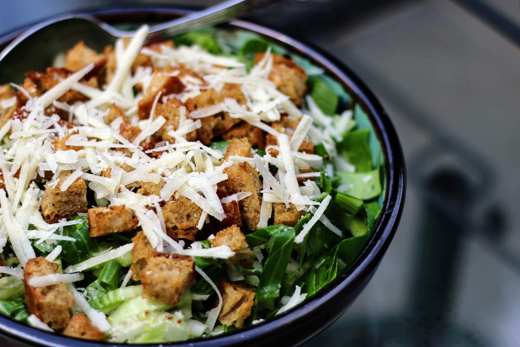 Bok choy caesar salad in bowl