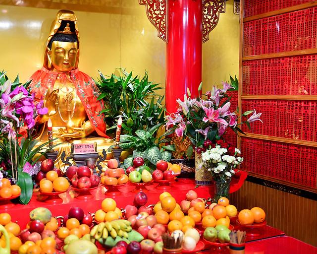 Ofrendas de frutas del templo budista de Nueva York