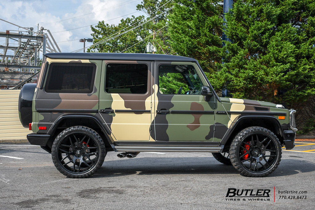 Lifted Camo Wrapped Mercedes G63 AMG Wagon with 24in Forgi ...