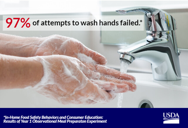 A person washing hands