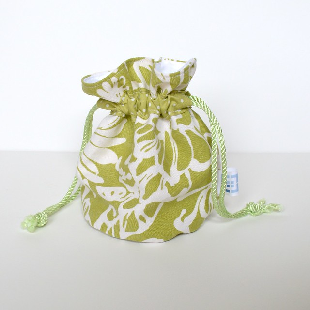 Canvas Pouch Green White Floral BB001a