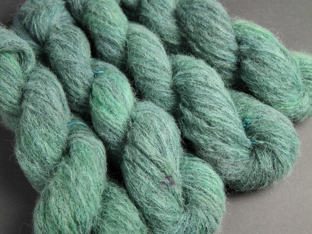 Fuzzy Lace – Brushed Baby Alpaca and Silk hand dyed yarn 25g – 'Spruce'