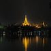 shwe dagon by night -- the scene from the royal lakes