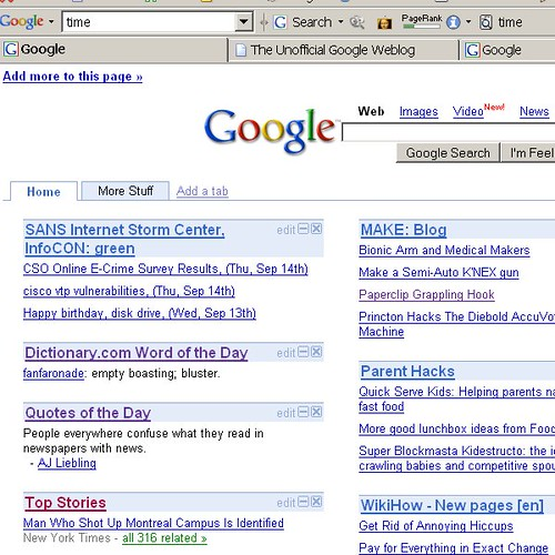 how to put page on google front tabs