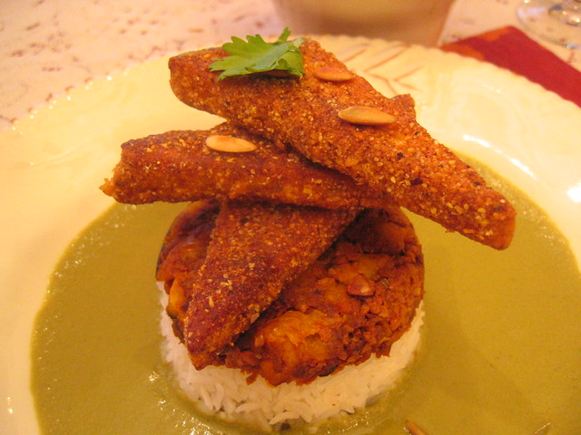 chile_cornmeal_crusted_tofu with pumpkin_seed_mole | Flickr