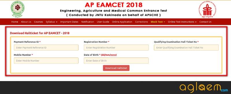 AP EAMCET Hall Ticket 2018