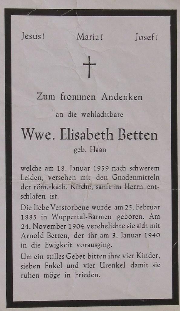 Totenzettel Betten, Elisabeth † 18.01.1959