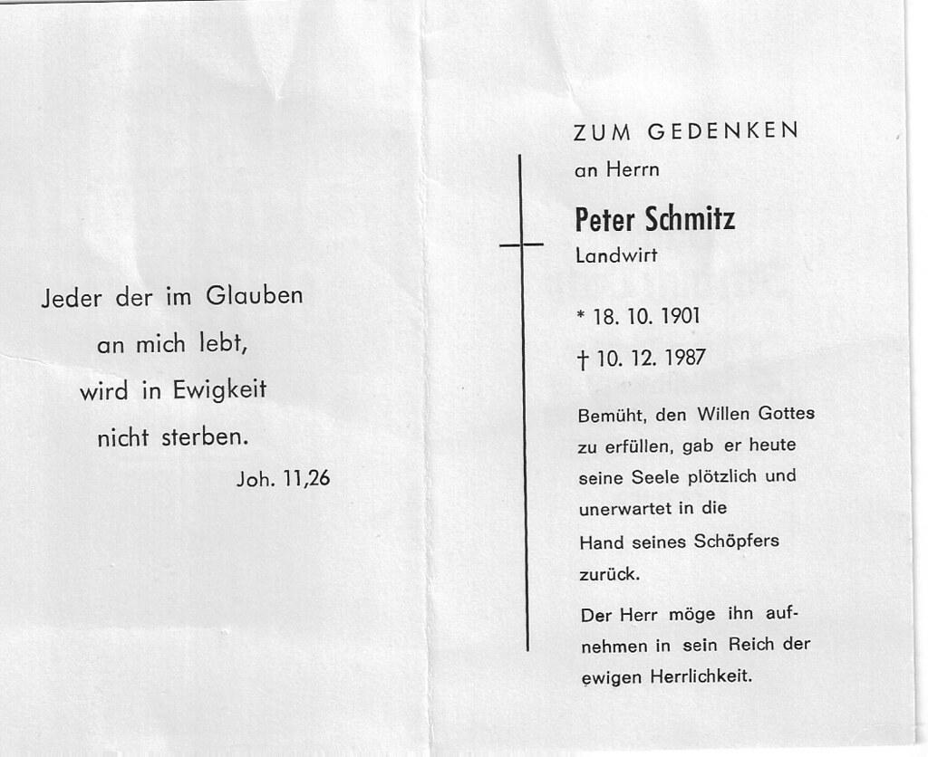 Totenzettel Schmitz, Peter † 10.12.1987