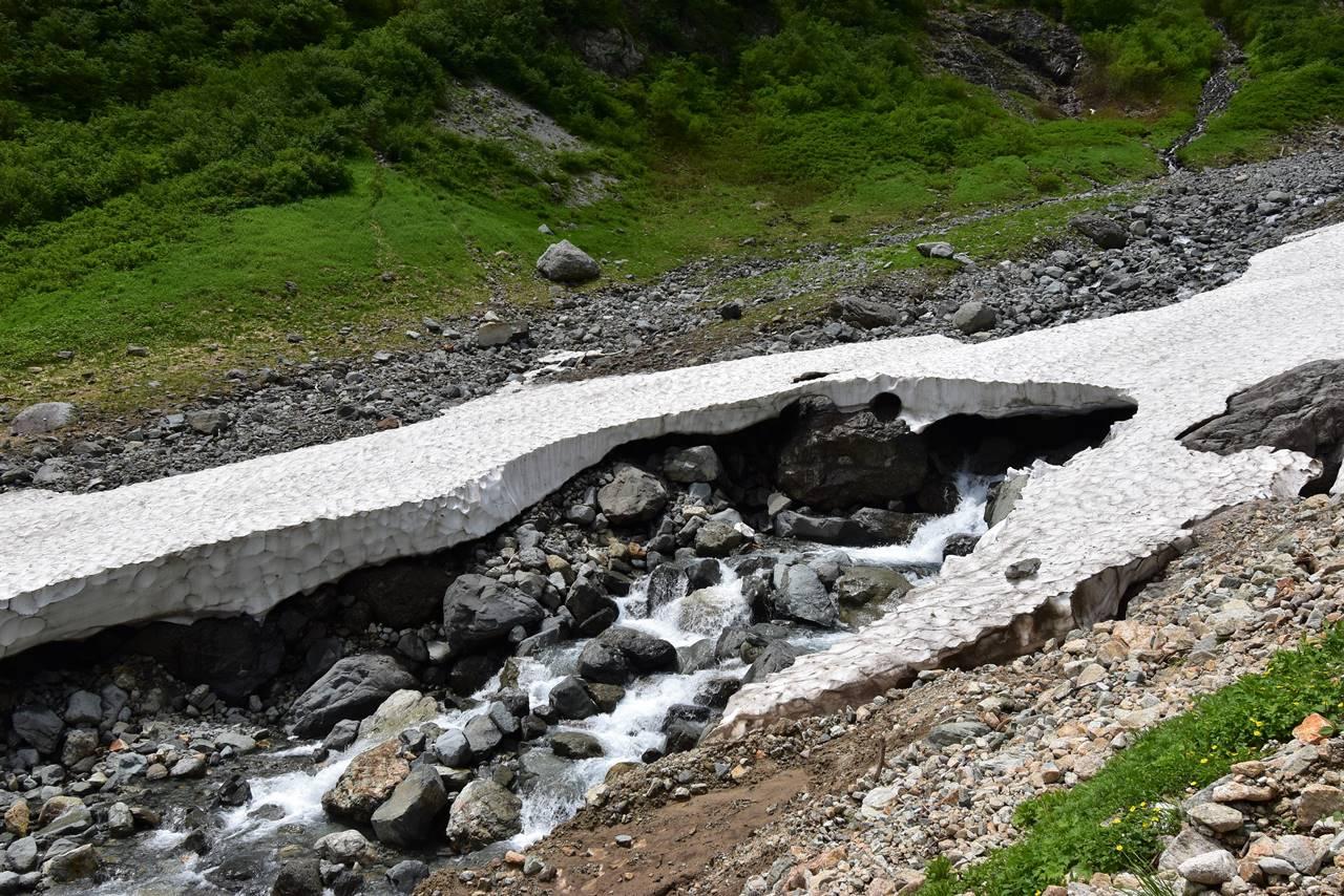 槍沢の雪渓