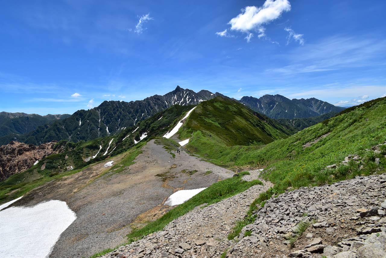 西鎌尾根の稜線と槍ヶ岳~穂高連峰