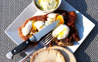 BREAKFAST OF CHAMPIONS # 63 – VEAL BLADE STEAK WITH POACHED EGGS, TZATSIKI & PITA | by www.ChefsOpinion.org
