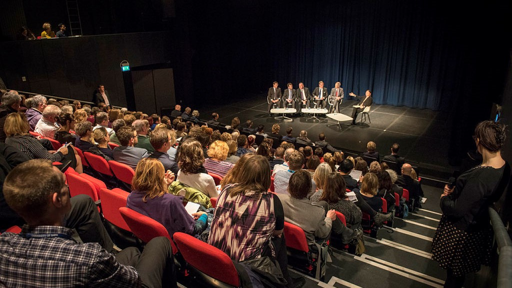 Photograph showing an event in the Edge Arts Theatre