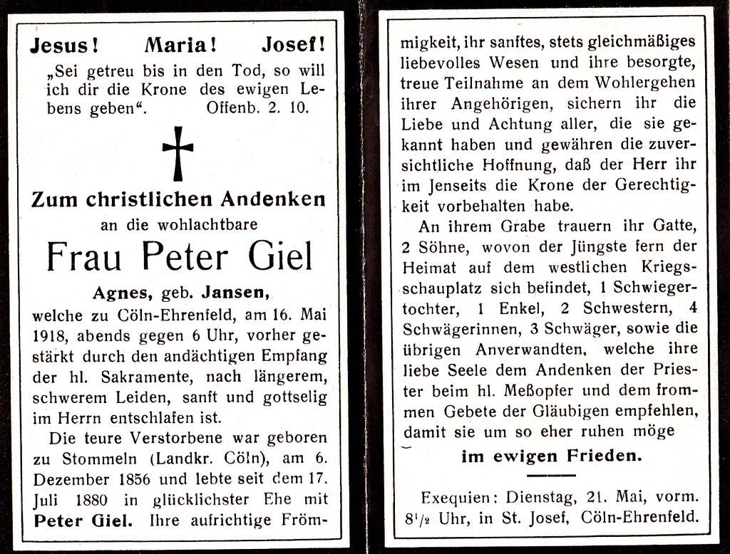 Totenzettel Giel, Agnes † 16.05.2018